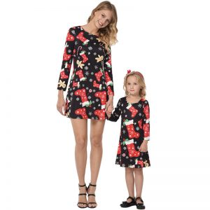 Christmas Family Outfits Mommy and Me Matching Girl Women A-line Dress Clothes